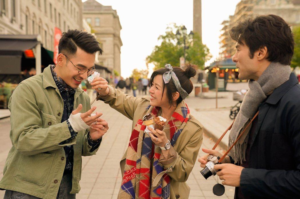張書豪(左)和陳妍希(中)、鳳小岳(右)赴加拿大拍片,回憶滿滿。圖/好好看文創/...