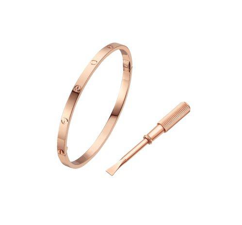 LOVE 手環,小型款,18K玫瑰金。附螺絲刀。寬度:3.65毫米。參考價格約N...