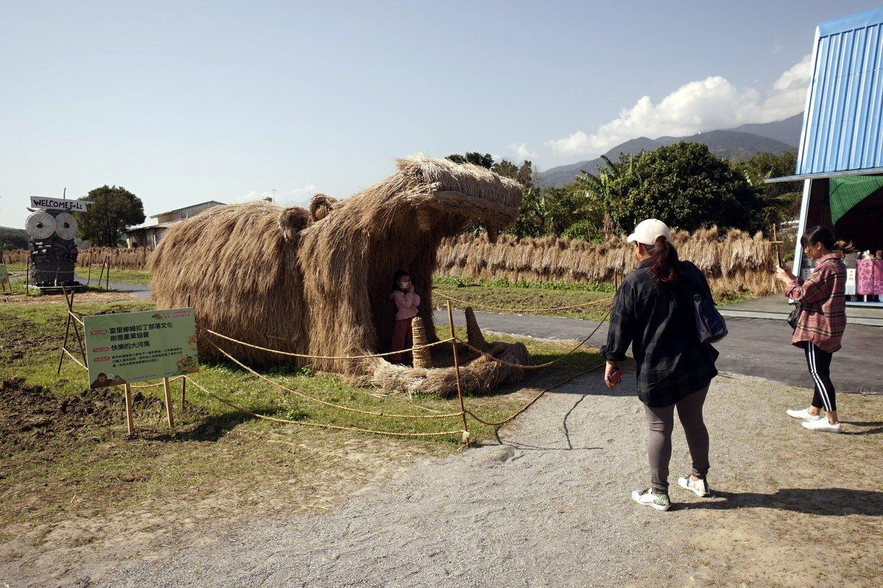 花蓮縣富里鄉農會以「動物迷蹤-沃野派對」為主題推出稻草藝術季,共有20件可愛作品...