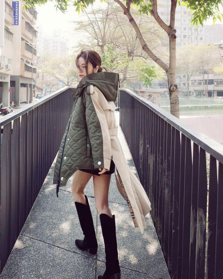 許路兒身穿最新的BURBERRY「未來新經典」系列風衣。圖/取自IG 楊詩涵