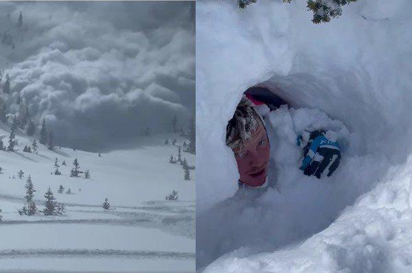 短短不到10秒的時間,山頂上巨大的「雪海」往滑雪客襲來,雖然一行人立即打開雪崩背包,卻還是當場遭厚雪覆蓋。 圖/彭羅斯(Miles Penrose)的個人臉書