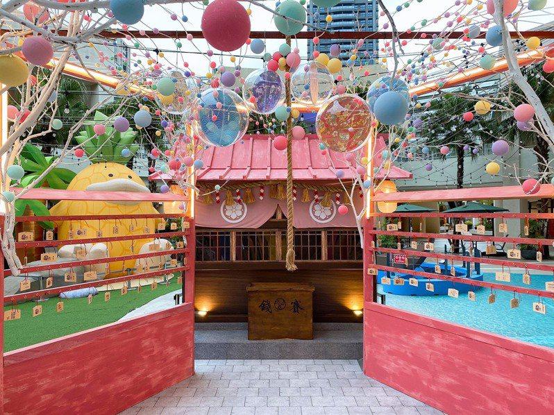 MITSUI OUTLET PARK林口店打造「粉彩祈願神社」。圖/MITSUI OUTLET PARK提供