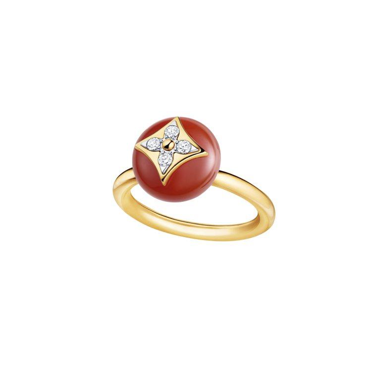 LOUIS VUITTON紅玉髓黃金鑽戒,11萬7,000元。圖/路易威登提供 ...