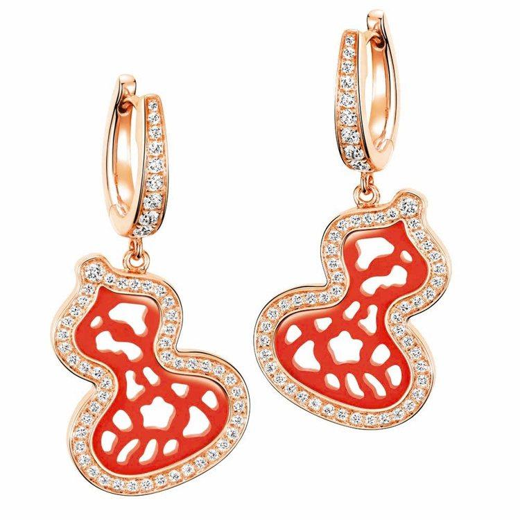 Qeelin Wulu Lace 18K 玫瑰金鑲鑽紅瑪瑙耳環,27萬2,500...