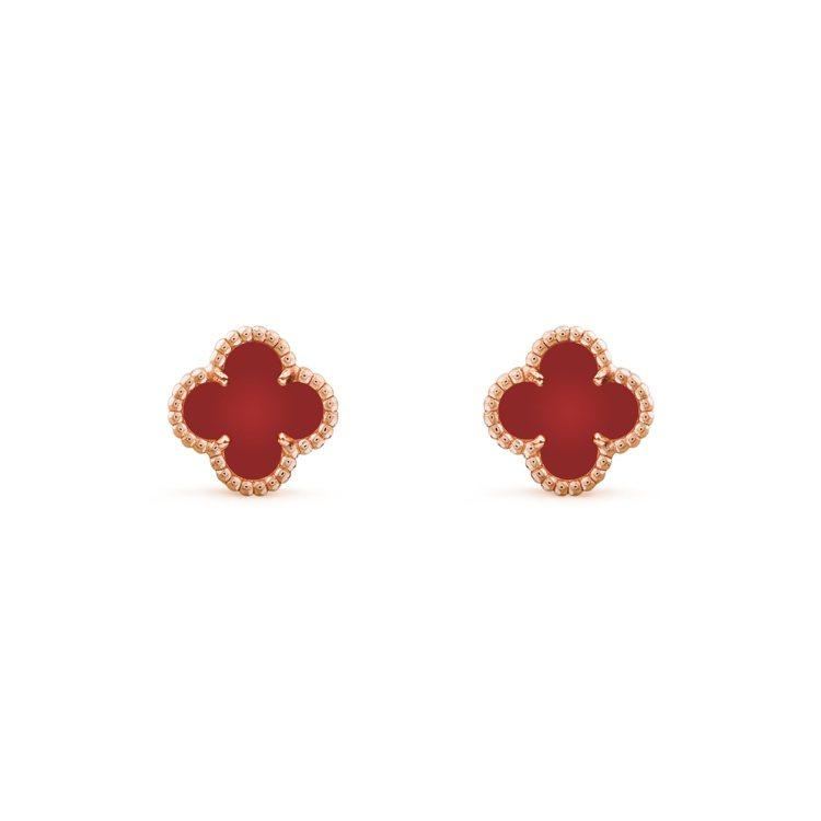 梵克雅寶Sweet Alhambra玫瑰金紅玉髓耳環,75,000元。圖/梵克雅...