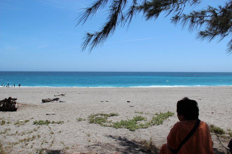 在海水顏色極美的太麻里曙光園區海灘上,大姊耐不住曬,躲到樹蔭乘涼。 照片提供/阿蘇卡