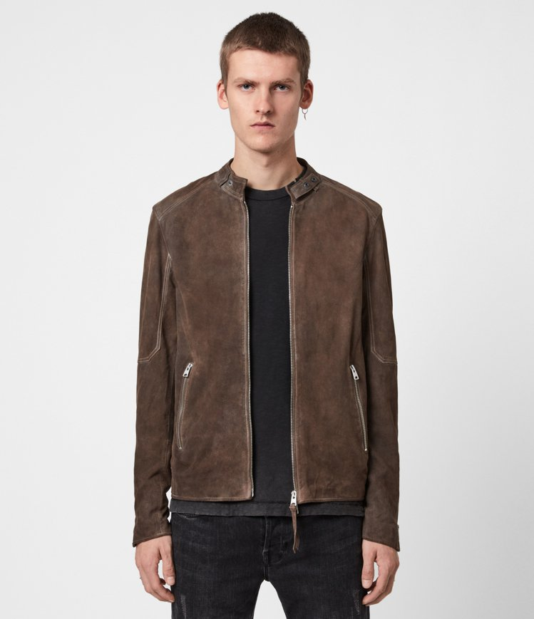 AllSaints Grantham深棕色麂皮皮革夾克20,200元。圖/All...