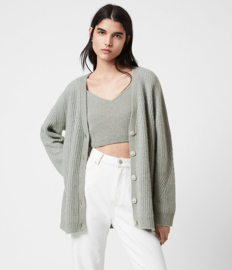 AllSaints Leanne寬鬆針織外套9,500元、Leanne短版針織背...