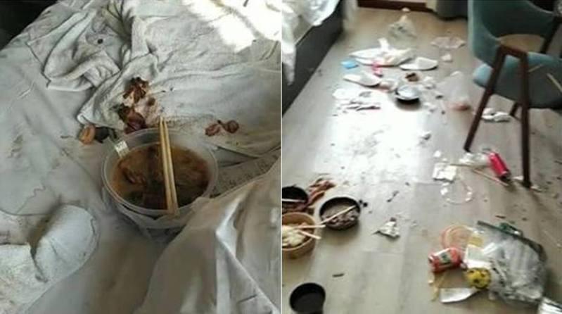 男客退房後,垃圾遍佈放間。網路圖片