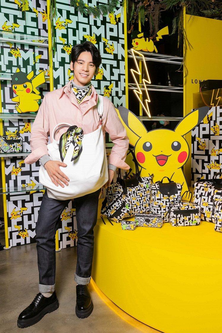 林柏宏參加Longchamp x Pokémon聯名系列發表活動。圖/Longc...
