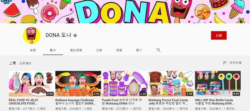 有網友發現韓國1個名為「DONA도나」的YouTube頻道疑為Elsagate的翻版,呼籲一眾家長小心。(YouTube截圖)