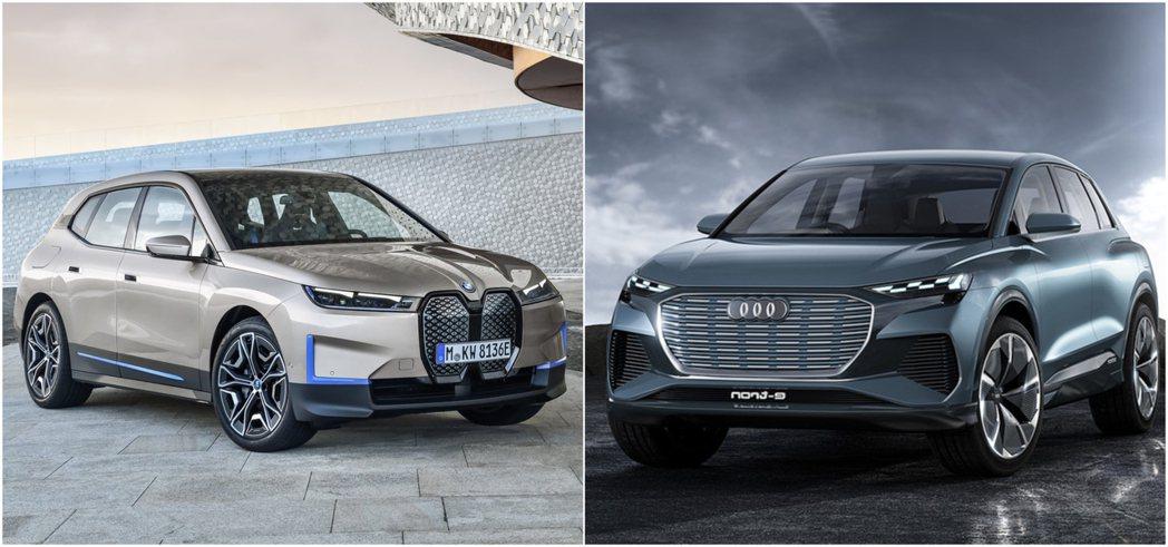 (左)BMW iX (右)Audi Q4 e-tron Concept。 摘自B...
