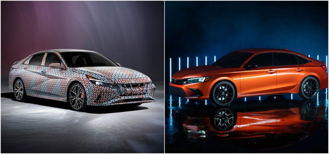 (左)Hyundai Elantra N (右)Honda Civic 。 摘自...