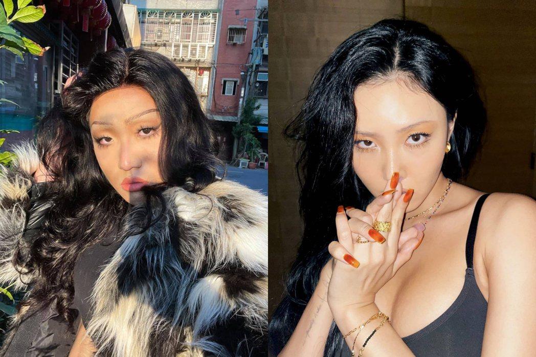 黃大謙妝髮、表情完美複製韓國女團大勢成員華莎。圖/擷自黃大謙臉書、圖/擷自華莎I