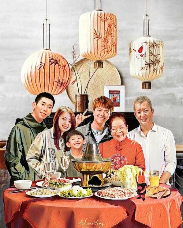 馬來西亞插畫家Autumn.Ying幫他們一家繪製的「全家福畫像」。 翻攝小鬼妹...