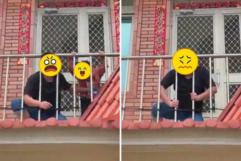 男網友不慎將自己的頭卡在欄杆的縫隙中,一旁的小朋友還有樣學樣,也想將頭伸出來。圖/截自《爆廢1公社》