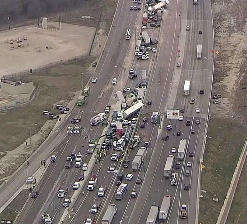 美国35号州际公路位于德州沃斯堡以北路段11日发生133辆汽车连环追撞的大车祸,事故现场前后约1公里,车流则回堵达数公里。画面翻摄:MAILONLINE(photo:UDN)
