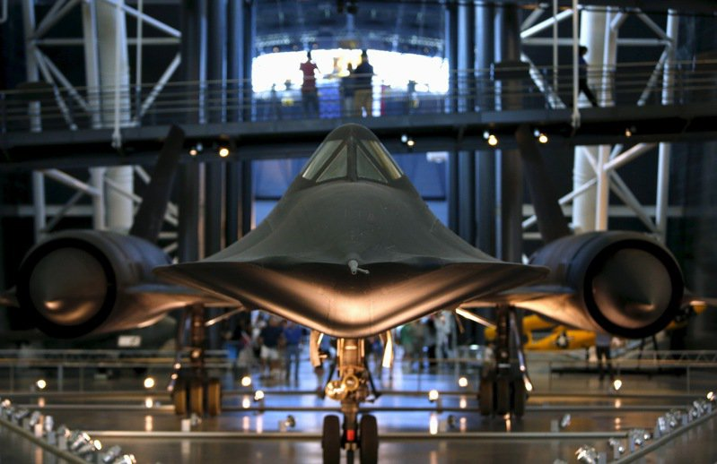 美國維吉尼亞州史密森尼航空博物館展出SR-71「黑鳥」戰略偵察機。路透