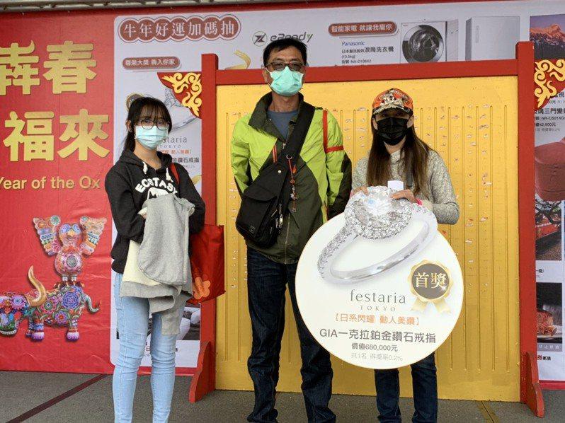 45歲顏小姐(右)今年拿下新光三越台中店福袋首獎,她的女兒姚姓高中生(左)竟是去年首獎得主,太幸運了。圖/新光三越台中店提供