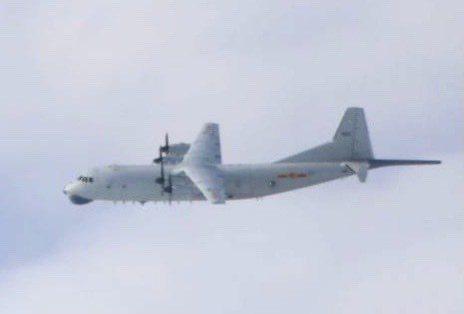 中共解放軍一架次運-8反潛機。圖/國防部提供