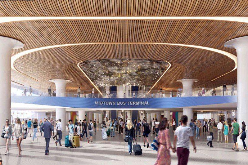 新的公车总站会在现存公车总站的基础上改建,将有流线型玻璃墙入口,及增加基础设施容纳更多巴士。图为新的纽约公车总站示意图。(photo:UDN)