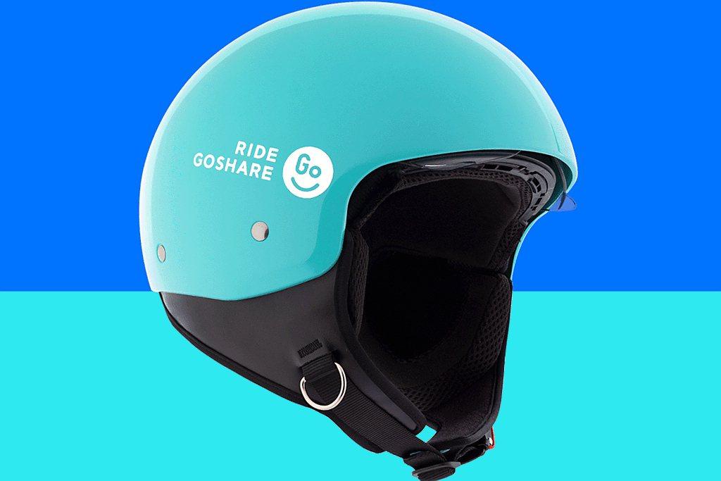 GoShare移動共享服務引入「內藏式擋風鏡」3/4罩安全帽,即日起率先於大台北...