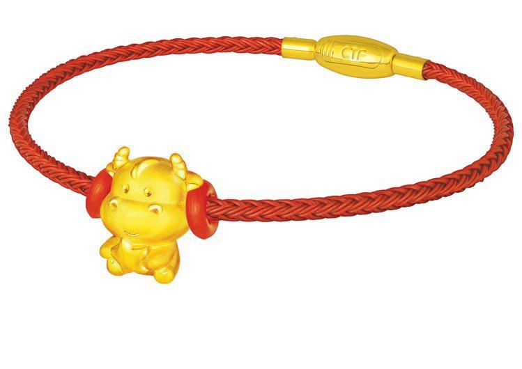 「幸運牛」黃金Q版轉運珠,7200元。圖/周大福提供