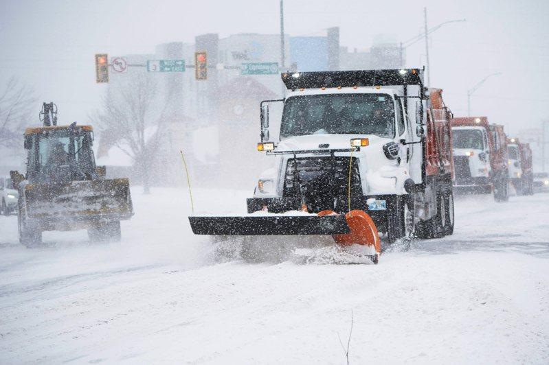 美国奥克拉荷马市道路冰封。(美联社)(photo:UDN)