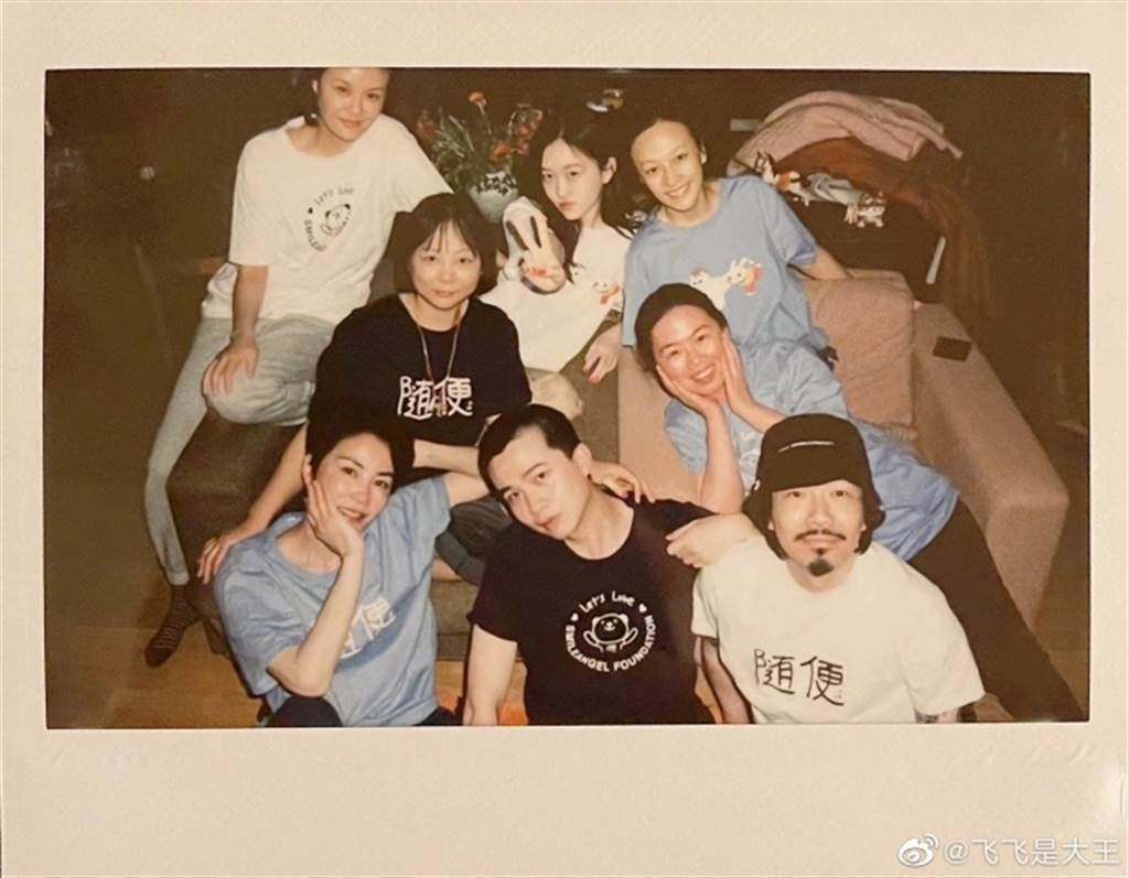 王菲(左下)近照像少女。圖/摘自臧鴻飛微博