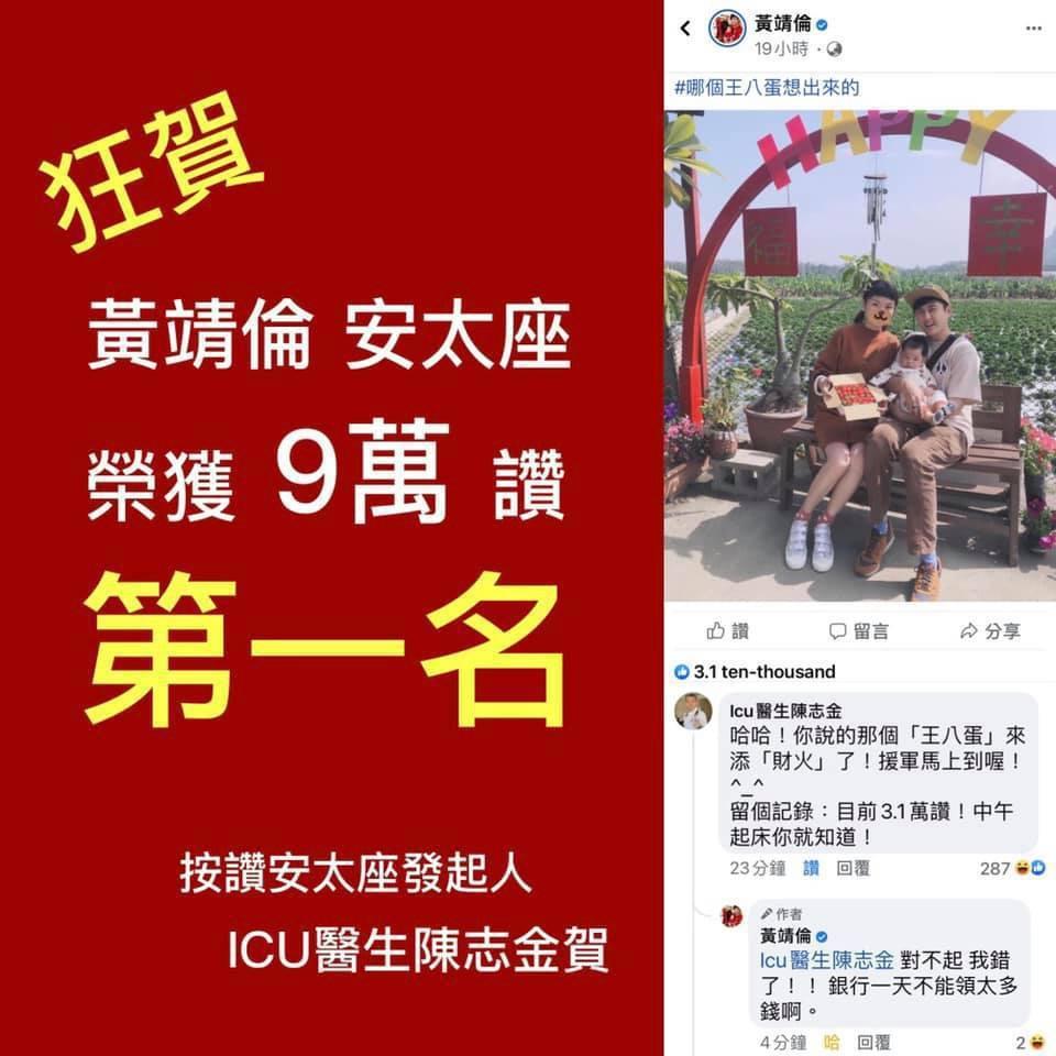 Icu醫生陳志金2月14日於臉書發起「一人一讚安太座活動」,今年冠軍為藝人黃靖倫