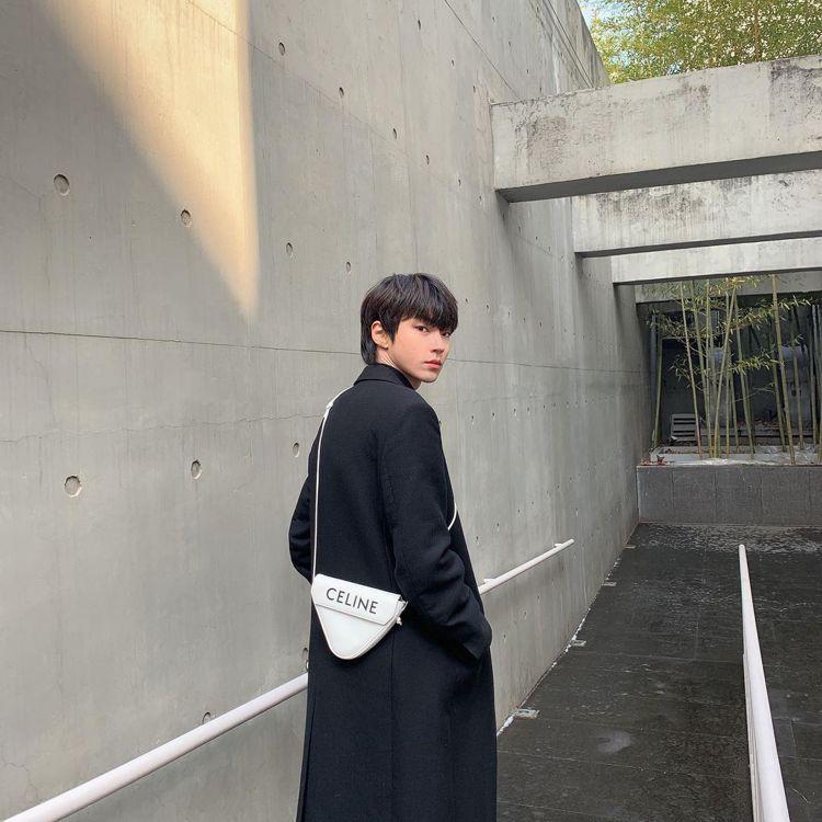 「女神降臨」黃寅燁詮釋CELINE Triangle Bag小牛皮款式。圖/取自...
