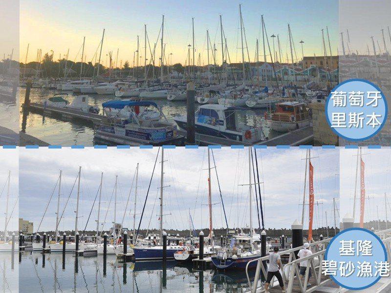 基市府「基隆旅遊網」臉書社團小編跟風推出「在基隆玩世界」,圖為碧砂遊艇港對比葡萄牙里斯本。圖/取自基隆旅遊網