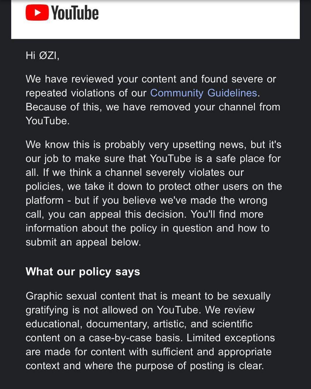 ØZI的Youtube頻道遭官方刪除。 圖/擷自ØZI IG