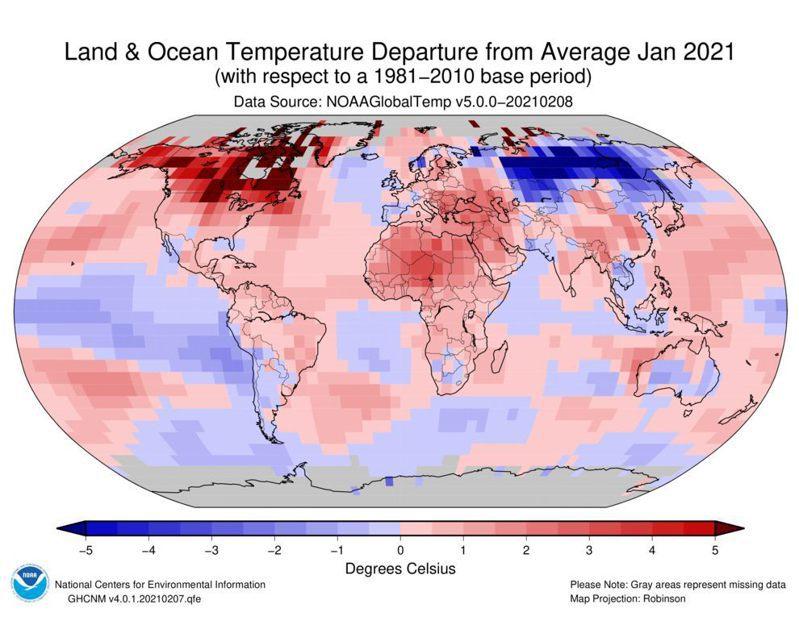 NOAA的1月全球氣溫距平圖。圖/取自鄭明典臉書