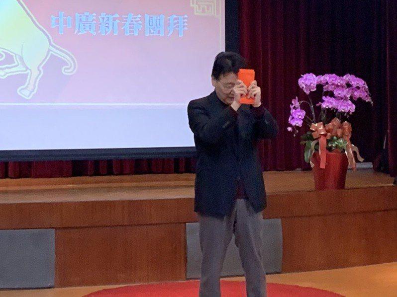 中廣董事長趙少康上午出席中廣新春團拜。記者劉宛琳/攝影
