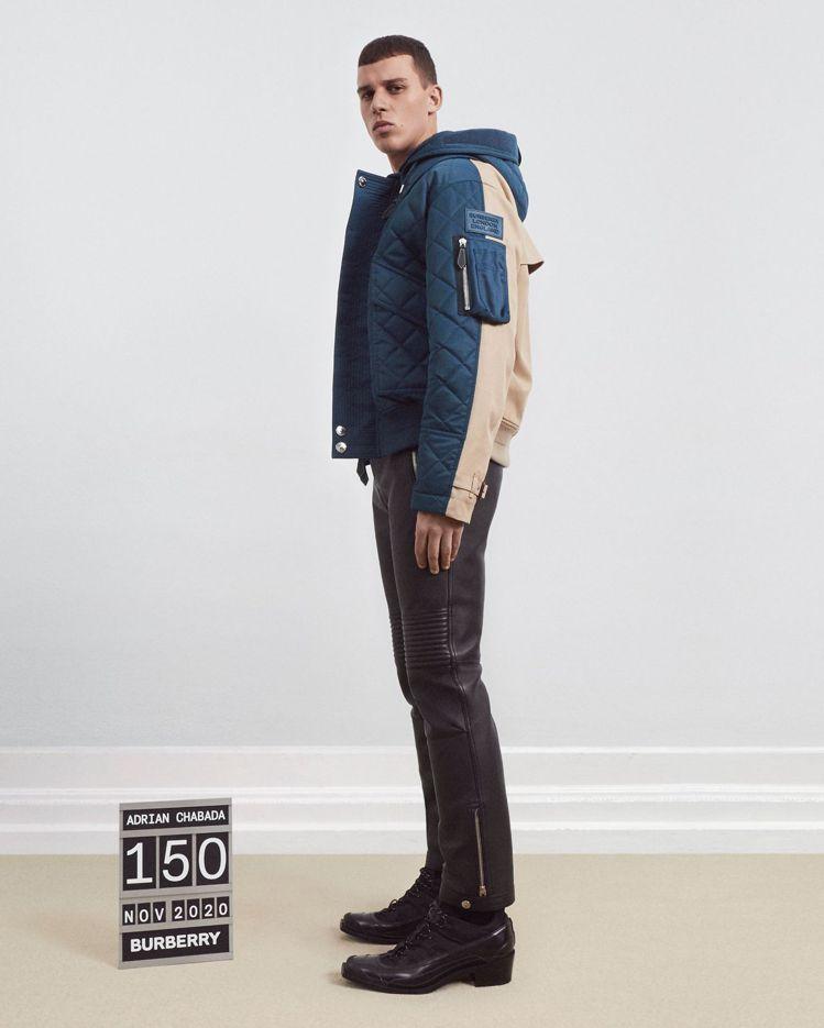 周興哲款BURBERRY可拆式連帽絎縫尼龍及棉質外套,69,000元。圖/BUR...