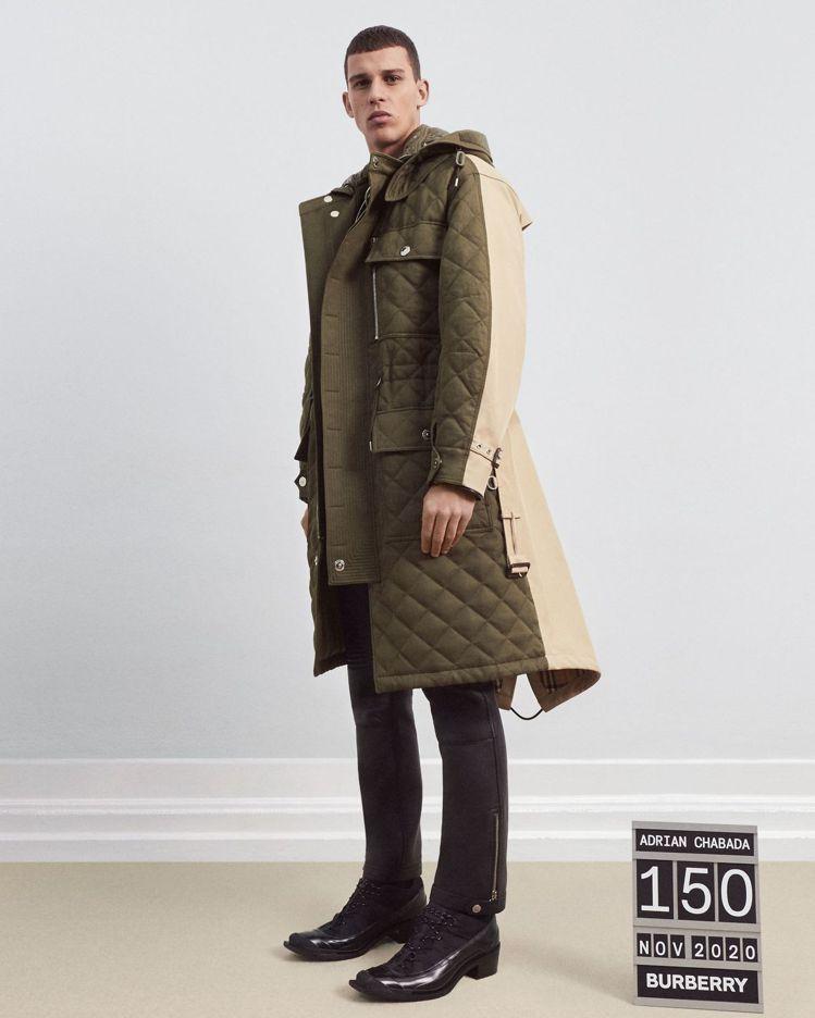 林映唯款BURBERRY可拆式連帽絎縫苧麻棉及棉質連帽大衣,12萬5,000元。...