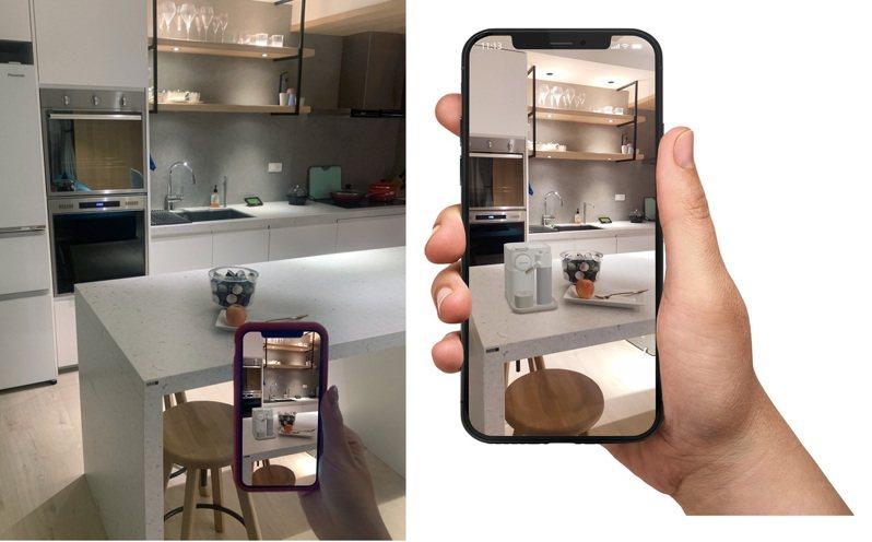 Nespresso於官方網站推出「AR實境預覽功能」,輕鬆規劃居家專屬咖啡館,享受咖啡美好時光。圖/Nespresso提供