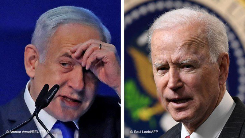 上任近4周後,美國總統拜登終於和以色列總理納坦雅胡首次通了電話。圖/德國之聲中文網