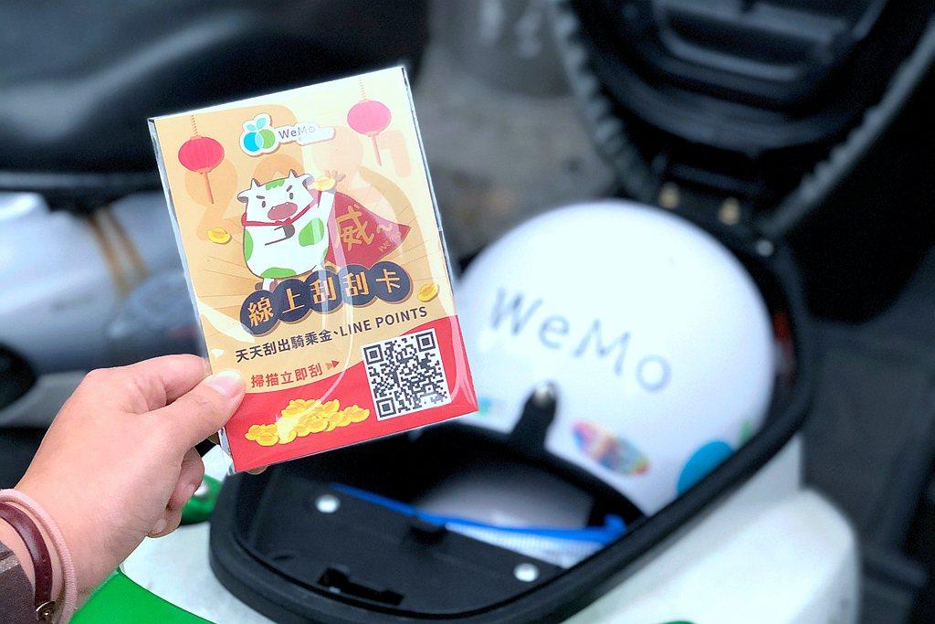 WeMo Scooter推出線上幸運刮刮卡,免費騎乘金與LINE POINTS任...