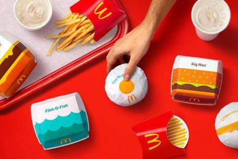 麥當勞換上全新的產品包裝。圖/Pearlfisher