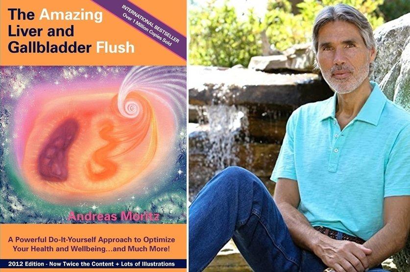 《神奇的肝膽排石法》書封與作者安德烈莫瑞茲。 圖/截自Amazon