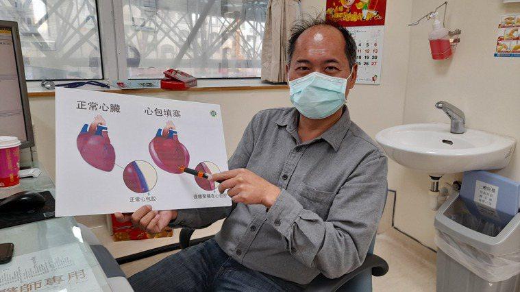 童綜合醫院心臟外科主任吳清文筆指處,即女子心包填塞示意圖。圖/童綜合醫院提供