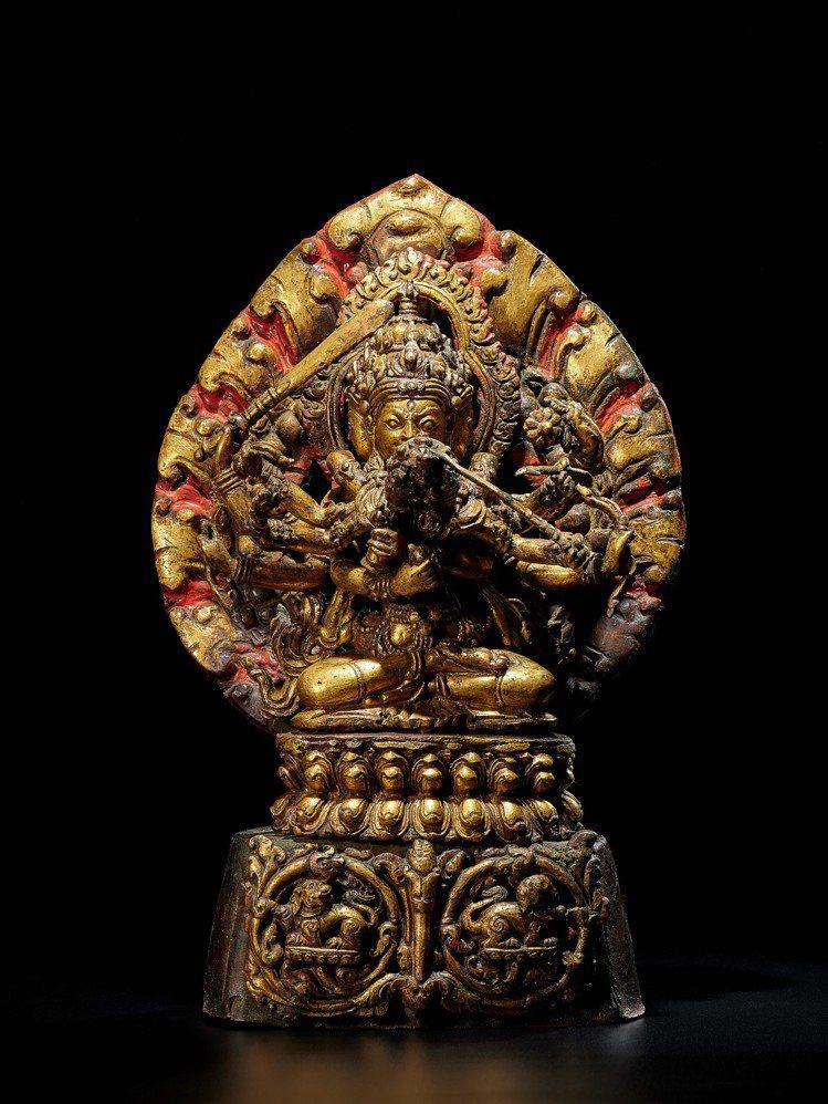 「印度、喜馬拉雅及東南亞藝術拍賣」拍賣呈獻一尊17/18世紀的尼泊爾銅鎏金文殊金...