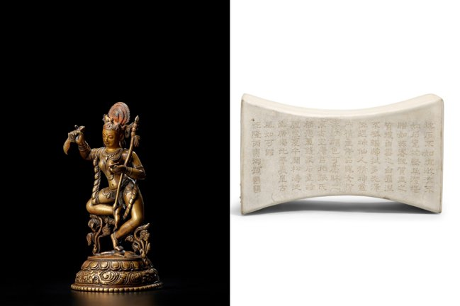 三月邦瀚斯紐約亞洲藝術周,拍賣亮點為一尊博物館級北印度帕拉時期金剛亥母銅像。圖/...