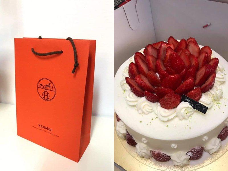 一名男網友精心準備女友的生日禮物,愛馬仕袋子內藏了一個八萬的包包。 圖擷自爆廢公社二館