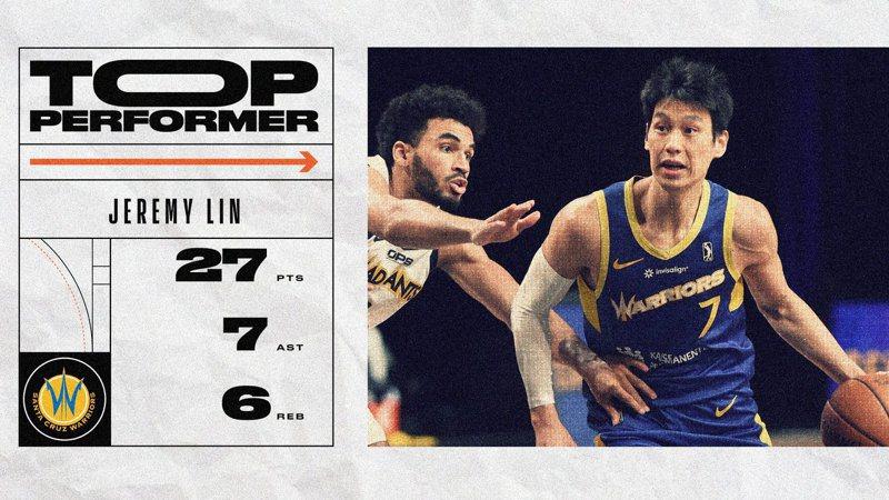傷癒回歸的林書豪繳出27分、7助攻、6籃板,幫助聖塔克魯茲完成大逆轉。 擷圖自NBA G聯盟推特