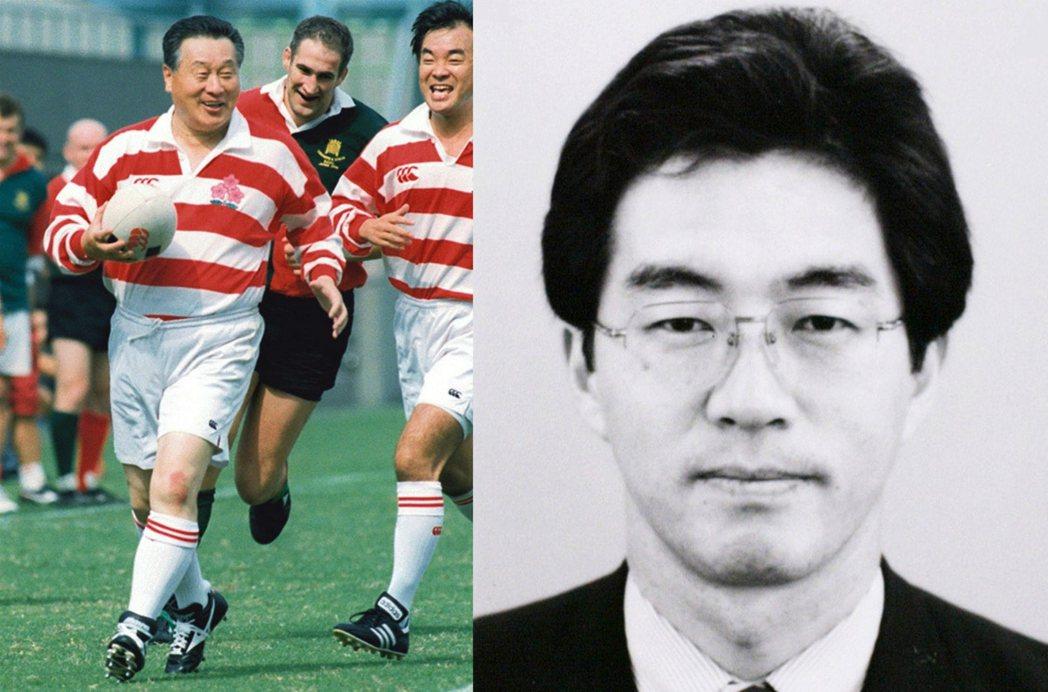 在森就任總理時,早大橄欖球隊大西教練引介了球隊學弟奧克彥(圖右)給他,森讓僅是外...