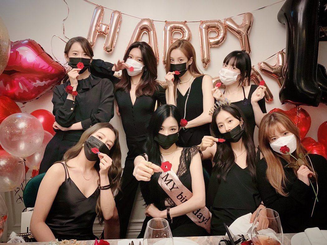 少女時代去年一起慶祝出道13週年。圖/擷自IG