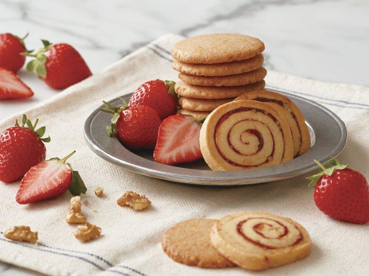詩特莉限時推出「草莓奶油餅乾」、「草莓核桃捲心餅乾」等甜品。圖/詩特莉提供